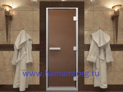 Стеклянная дверь для хамамаДверь для хамама бронза матовая